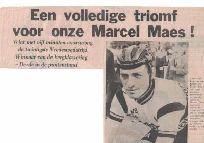 Krantenartikels n.a.v. de overwinning van Marcel Maes in de Vredeskoers