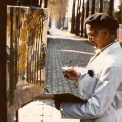 Paul Sonck voor de schildersezel
