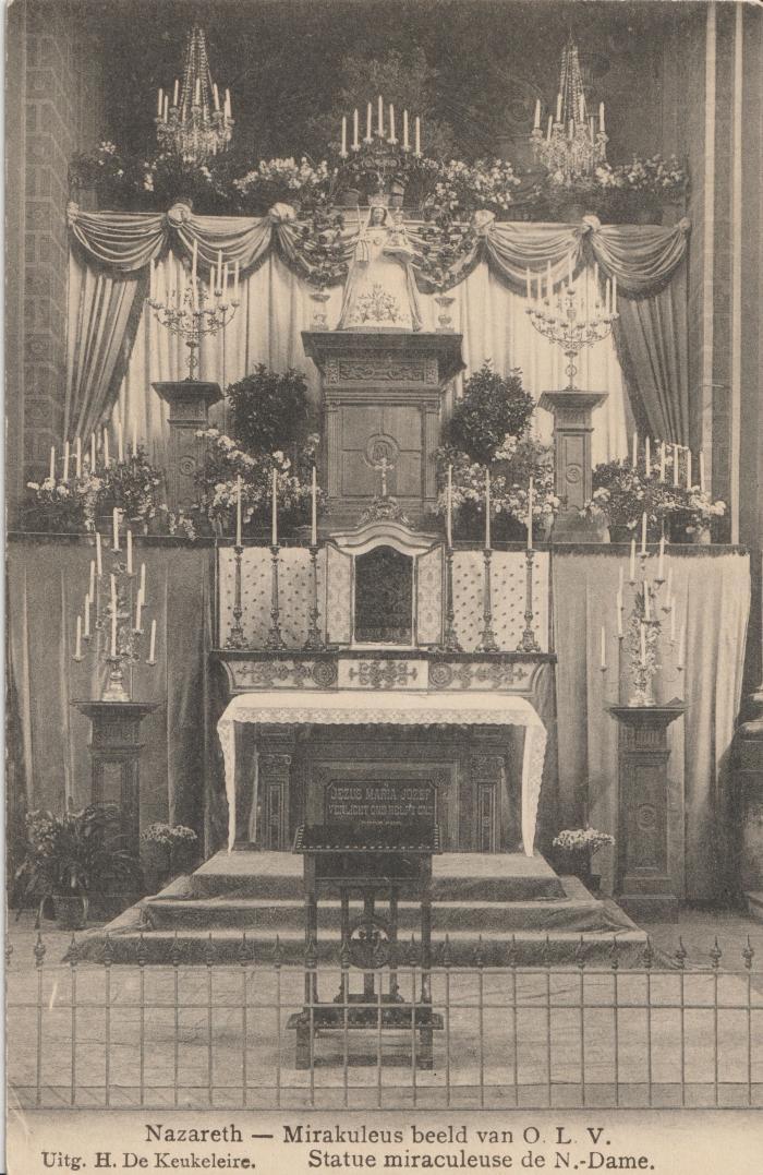Het Maria-altaar in de Onze-Lieve-Vrouw-Geboortekerk van Nazareth