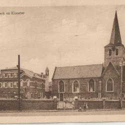 De kerk en het klooster van Nevele omstreeks 1950