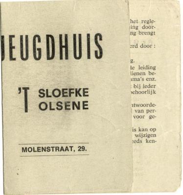 Uittreksel huishoudelijk reglement Jeugdhuis 't Sloefke