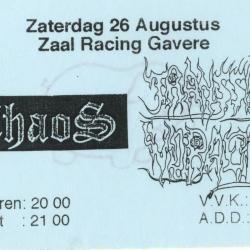 Flyer Optreden Chaos en Transsonic Voracity in de Gaverse  zaal Racing