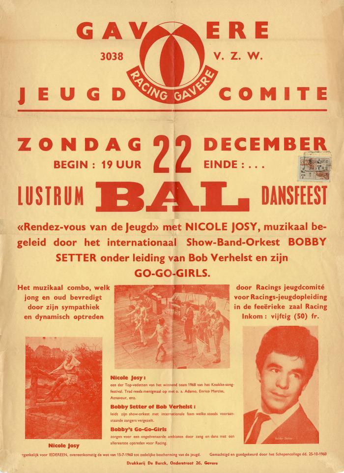 Affiche Lustrum Bal Dansfeest in Racing Gavere