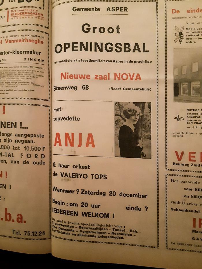 """Aankondiging """"Groot openingsbal"""" met topvedette Anja & orkest (de Valeryo Tops) te Asper"""