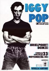 Affiche met aankondiging van het optreden van Iggy Pop in de Brielpoort