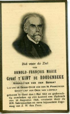 Bidprentje Arnold, Graaf t'Kint De Roodenbeke.