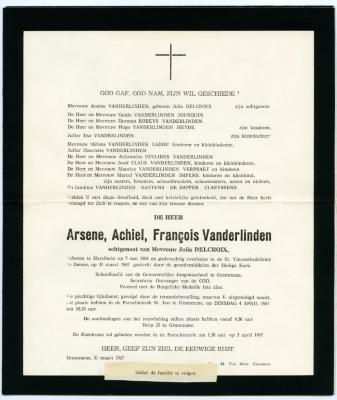 Rouwbrief Arsene Vanderlinden