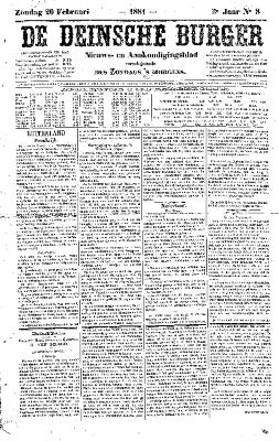 De Deinsche Burger: zondag 20 februari 1881