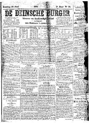 De Deinsche Burger: zondag 26 juni 1881