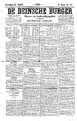 De Deinsche Burger: Zondag 24 april 1881
