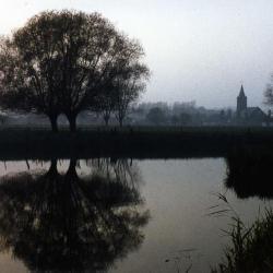 Idyllische zicht op de Zevergemse Scheldevallei