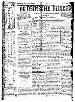 De Deinsche Burger: Zondag 20 november 1881