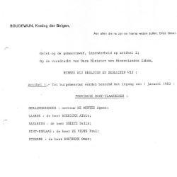 Aanstellingsbrief burgemeester Felix Smeets