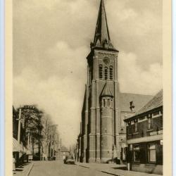 Zicht op kerktoren van De Pinte vanuit Pintestraat
