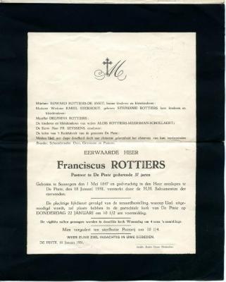 Rouwbrief pastoor Rottiers