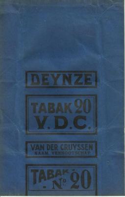 Tabaksverpakking van de firma Van Der Cruyssen