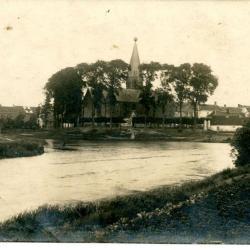 Zicht op Machelenput en de kerk tijdens W.O.I