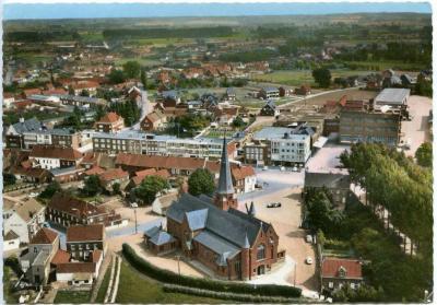 Luchtfoto van het centrum van Zulte