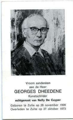 Doodsprentje kunstschilder Georges Dheedene