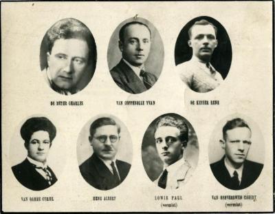 Bidprentje voor de gesneuvelde Deinse politieke gevangenen uit W.O.II