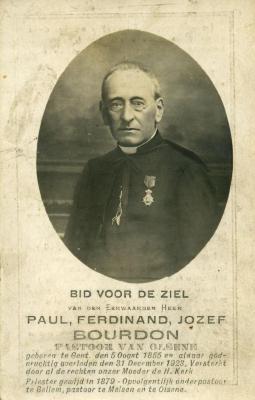 Doodsprentje van pastoor Bourdon
