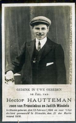 Doodsprentje van soldaat Hector Hautteman