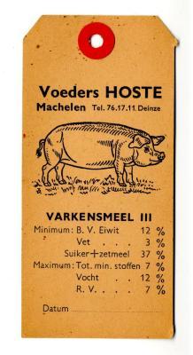 Etiket van zak varkensmeel geproduceerd bij Voeders Algoet