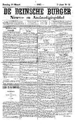 De Deinsche Burger: Zondag 18 maart 1883