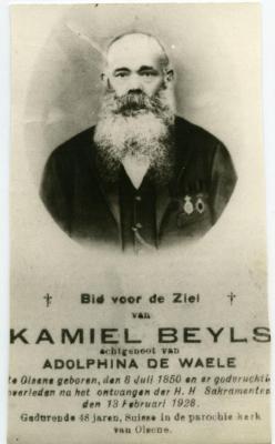Het doodsprentje van 'suisse' Kamiel Beyls