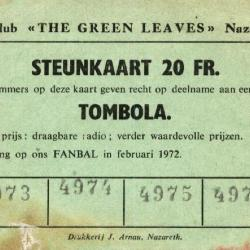 Steunkaart voor het fanbal van de Green Leaves