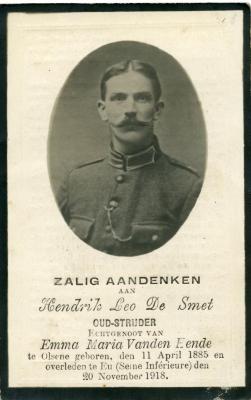 Het doodsprentje van Hendrik Leo De Smet