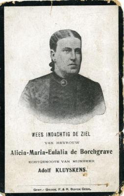 Doodsprentje Alicia-Maria-Eulalia de Borchgrave