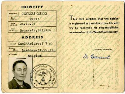 Identity Card World Citizen Marie Gevaert-Minne