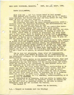 De plannen van KSA Nazareth voor paasvakantie 1938