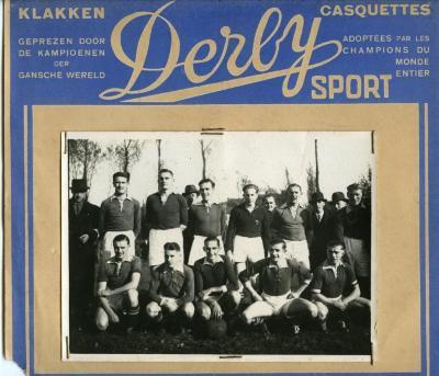 Racing Gavere in de etalage van Derby Sport-winkel