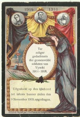 Herdenkingsprentje voor de Vinktse gesneuvelden van de Eerste Wereldoorlog