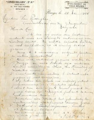 """Brief van Cinés Belges siége social, établissement du """"vieux Bruges"""""""